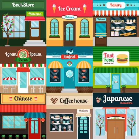 Different kind of food restaurants facade