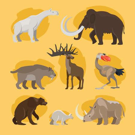 Prehistoric animals cartoon icons Vektoros illusztráció