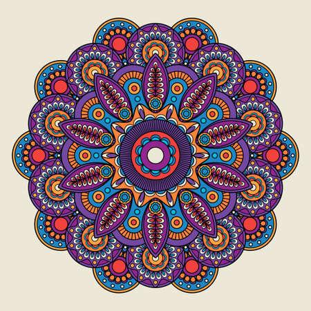 Indian doodle boho hippie mandala. Vector illustration Vetores