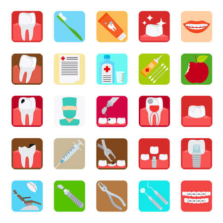 Dental clinic services flat colored icons. Vector illustration