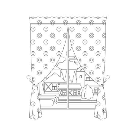 Coloring page design with window curtain and city landscape. Vector illustration