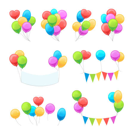 Cartoon balloon set. Vector glossy balloons isolated on white background for party invitations decoration Vettoriali