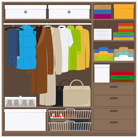 Men cloths wardrobe wuth different types of clothes. Vector illustration 矢量图片
