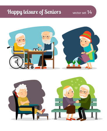 Seniors happy leisure. Grandmothers and grandfathers communicate and spend leisure Vector Illustration