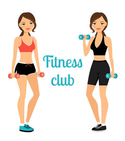 Fitness club advertising banner template with two young ladies. Vector illustration Vector Illustratie