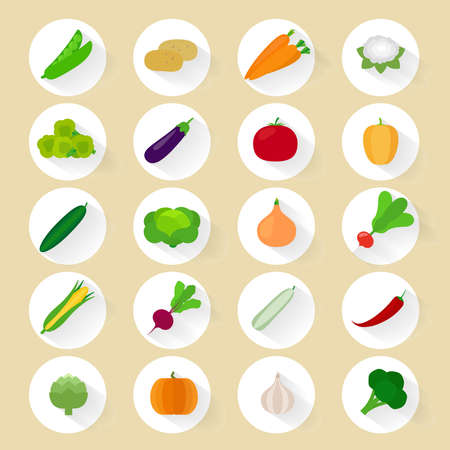 Vegetables flat vector icons with long shadow