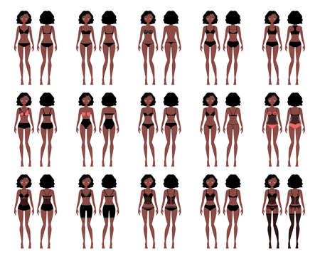 Types of woman underwear. Pretty African American girl in bra and panties vector illustration