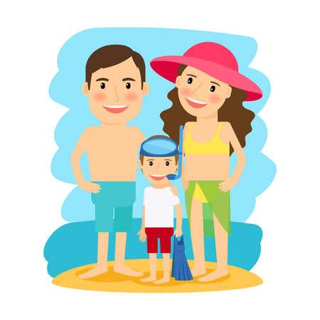 Beach summer icon. Happy family at beach. Vector illustration
