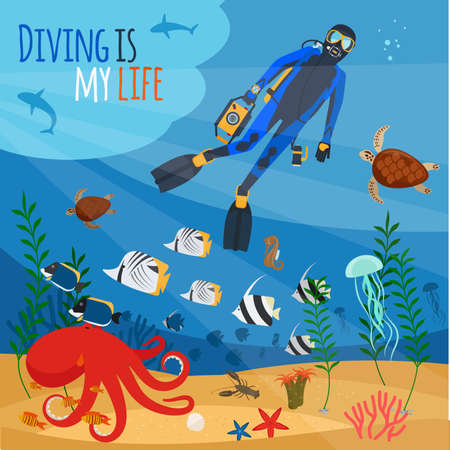 Diving is my life illustration. Diver underwater vector illustration