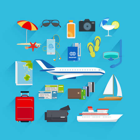 Travel and summer vacation, tourism and journey flat icons