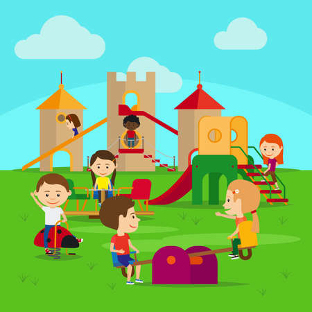Kids on playground. Castle and swing with happy kids