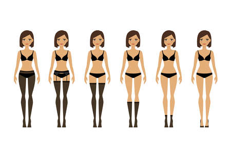 Womens lingerie. Young woman in different types of lingerie vector illustration