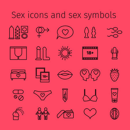 Sex icons in line style. Sex outline pictograms and symbols vector