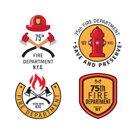 Firefighter emblems and fire department badges with vector cross fire axes and fireman helmet