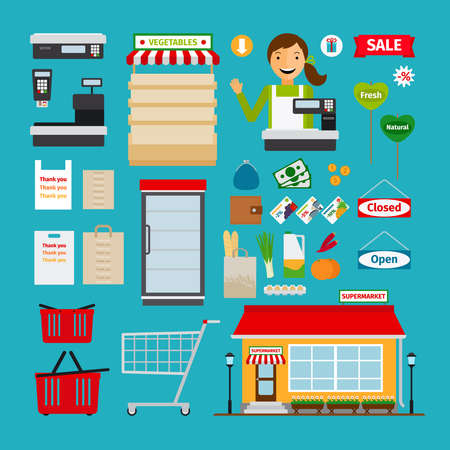 Supermarket icons. Store and shopping shelves, cart and basket
