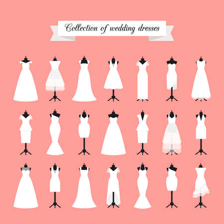 Wedding dresses. Fashion bride dress for bridal shower invitation. Vector illustration
