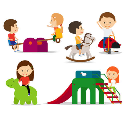 Kids playing at playground, sliding and swinging. Vector illustration Vettoriali
