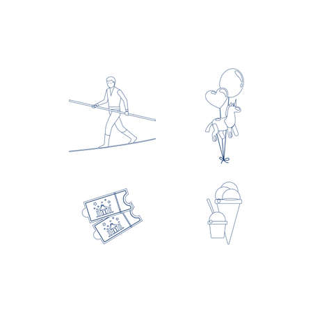 Circus blue line art icons. Vector illustration
