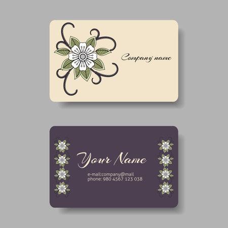 Floral pastel business card collection. Vector illustration Ilustração Vetorial