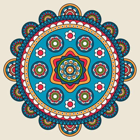 Doodle boho floral round motif. Vector illustration