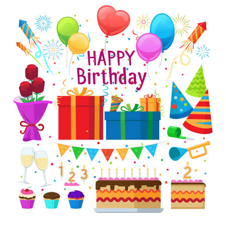 Happy birthday party cartoon decoration vector elements isolated on white background