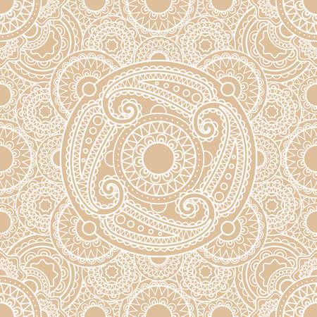 White vector indian lace seamless pattern background Vektoros illusztráció