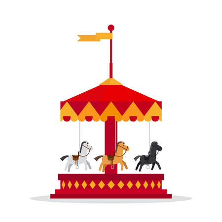 Kids carnival carousel in flat style. Merry-Go-Round vector illustration