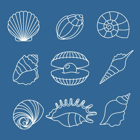 Sea shell outline icons on blue Vetores