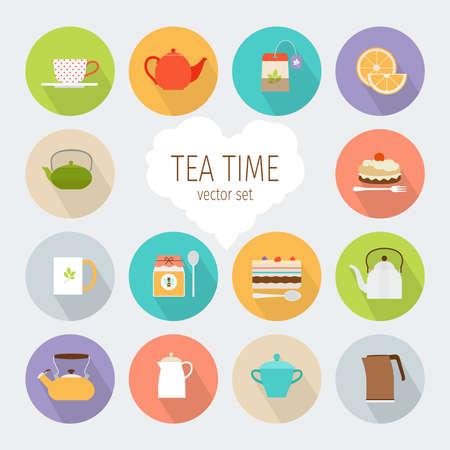 Tea flat icons Vektorové ilustrace