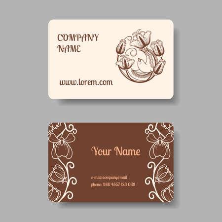 Vintage business card collection with floral ornament. Vector illustration Vektoros illusztráció