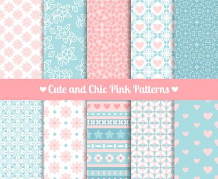 Cute and Chic Pink and blue Patterns. Endless texture for paper or scrap booking Vector Illustration