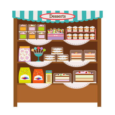 Showcase with desserts. Shop shelves with candy and sweets Vecteurs