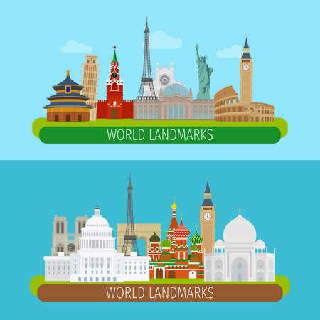 World landmarks banners or travel postcards vector illustration Vettoriali