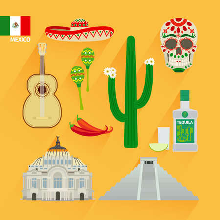 Mexico icons and flag in flat style Vecteurs
