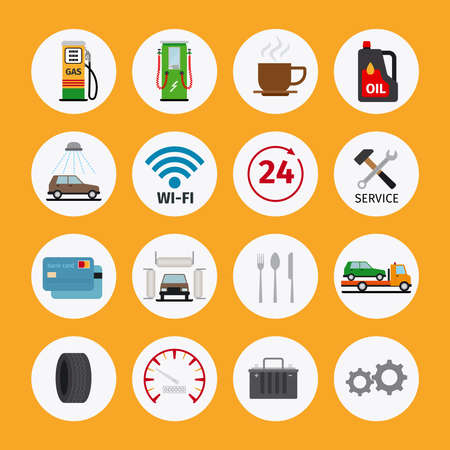 Vector car service flat icons. Vehicle maintenance and repair Vector Illustratie