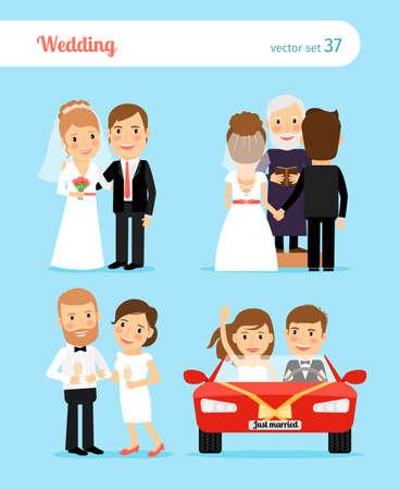 Wedding people. Bride and groom, priest, newlyweds car vector