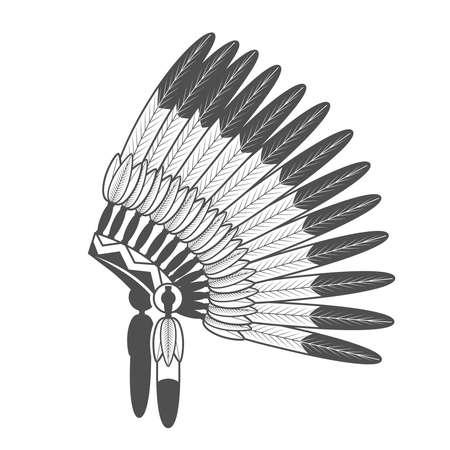 Native American Feathered Headdress. Vector Indian war bonnet Vektoros illusztráció