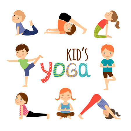 Yoga kids set. Gymnastics for children and healthy lifestyle. Vector illustration. Vecteurs