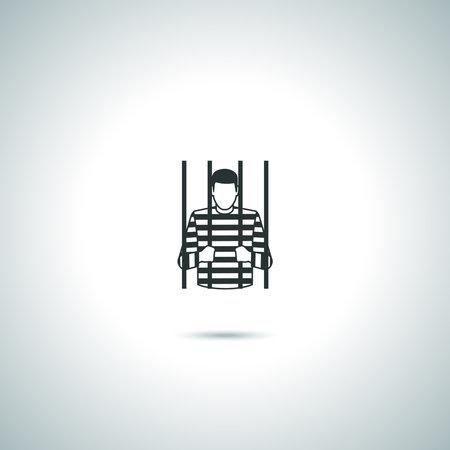 Criminal prisoner vector icons on white background