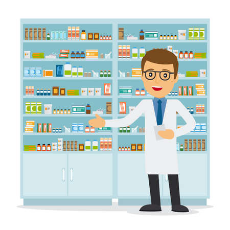 Male pharmacist in a pharmacy opposite the shelves with medicines. Health care. Vector illustration
