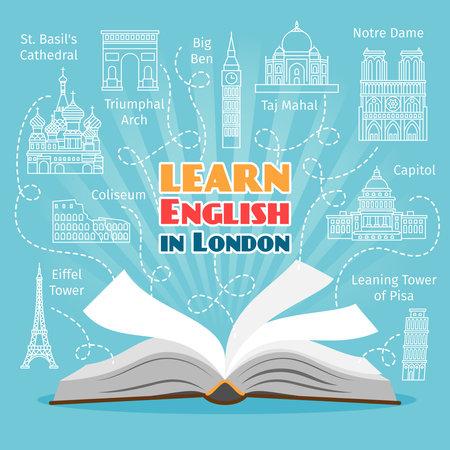 Abroad Language School. Studying foreign languages concept. Vector illustration Vektorgrafik