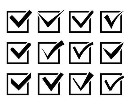 Check mark icon set. Black check boxes on white background. Vector illustration Ilustración de vector