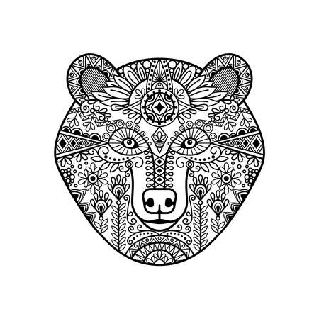 bear head. Hand drawn doodle bear face, vector illustration Ilustración de vector