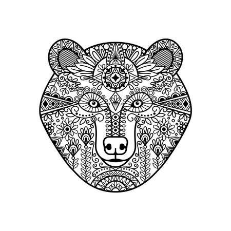 bear head. Hand drawn doodle bear face, vector illustration Vektorové ilustrace