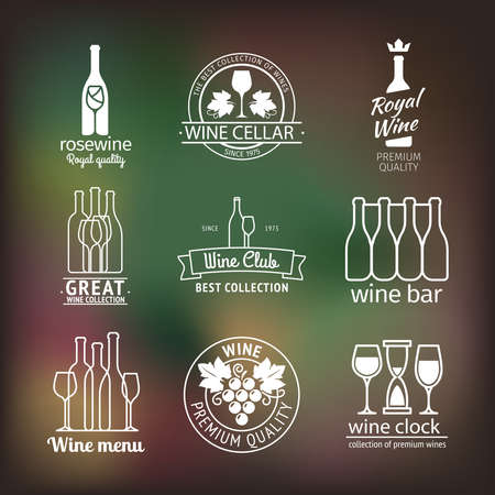 Wine club and restaurant emblems and labels set on blurred background. Vector wine club logo
