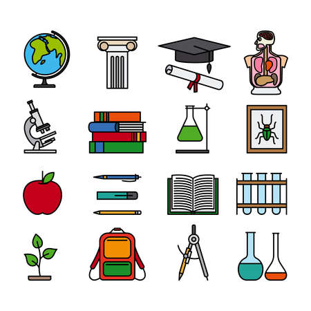 Education color line icons. Outline colored images of books, flasks, backpack and study materials. Vector illustraton
