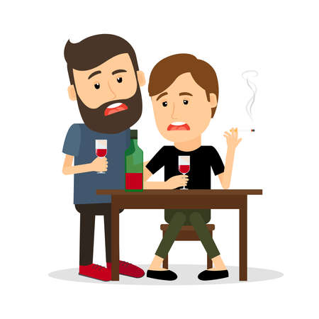 Two drunk men at the table with bottle, drinking and smoking. Vector illustration