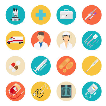 Medical flat icons. Medical tools and health care equipment signs, medical science research vector icons Vecteurs