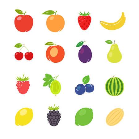 Fruits retro illustration. Different fruits in vintage style. Vector illustration Vecteurs