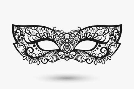Beautiful lace mask. Mardi Gras mask icon. Vector llustration Ilustración de vector